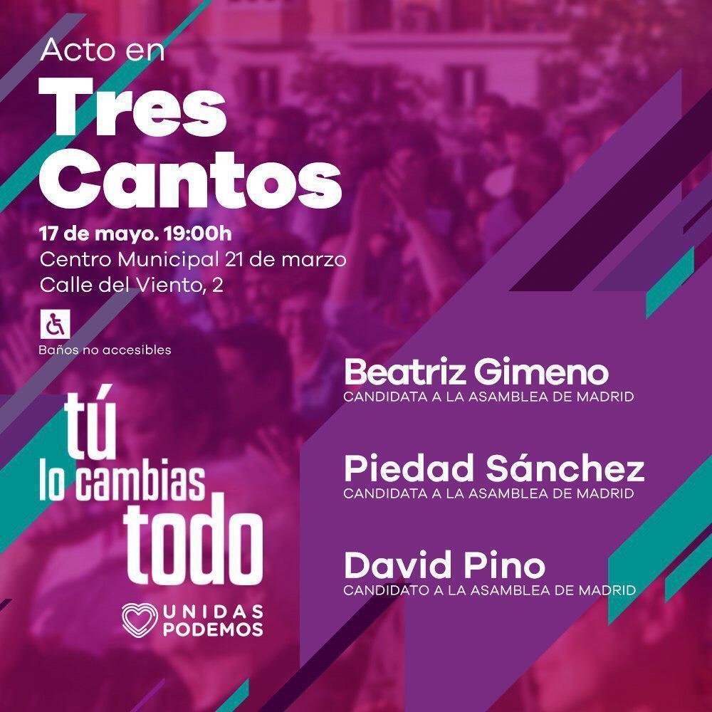 Las candidatas de Podemos a la Asamblea de Madrid visitan Tres Cantos